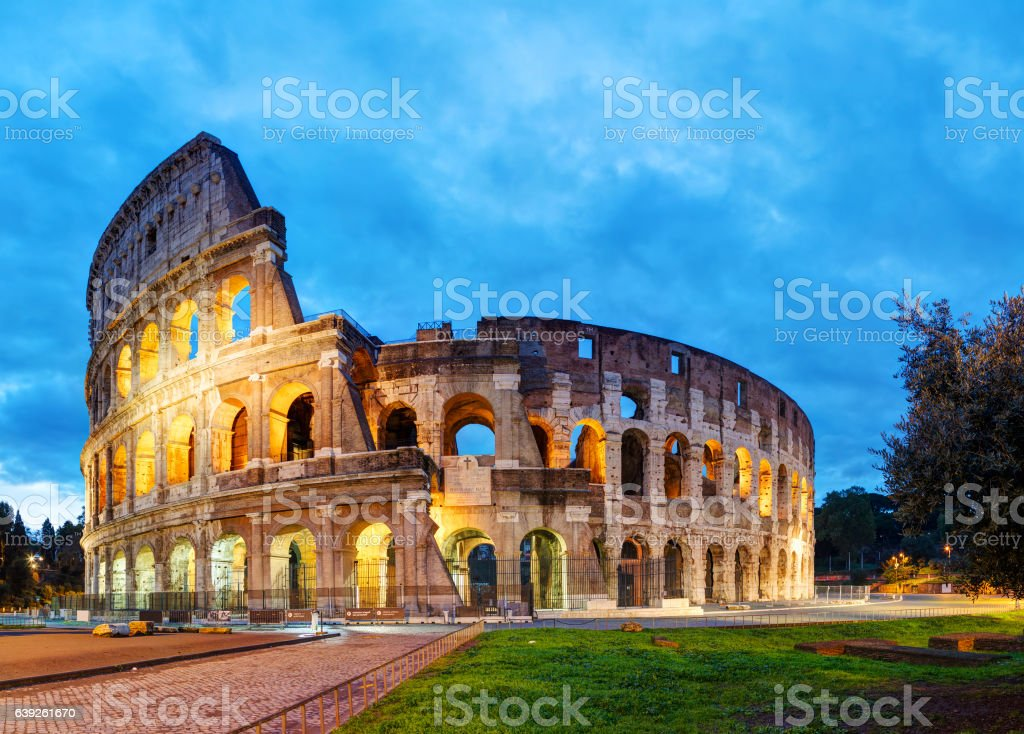 The Colosseum in Rome in the morning stock photo
