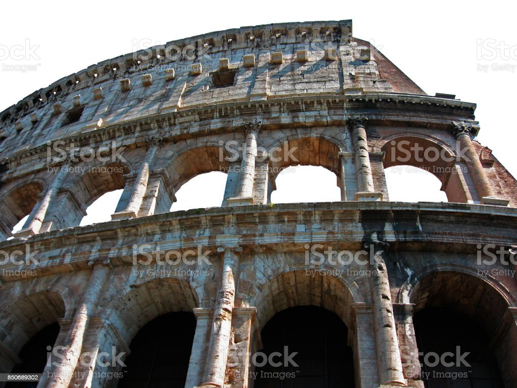 The Colosseum, Rome, Italy (isolated fragment of the wall). Famous  antique landmark of the Roman Empire, a cultural heritage stock photo