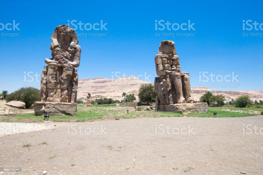The Colossi of Memnon Egypt Luxor stock photo