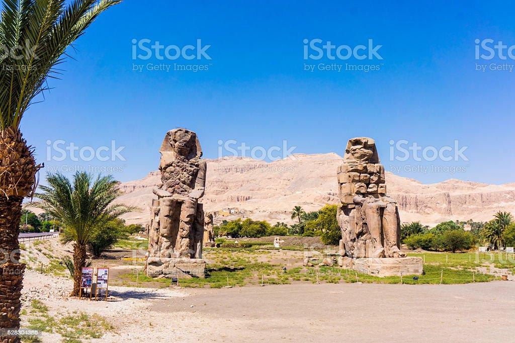 The Colossi of Memnon, Luxor, Egypt stock photo