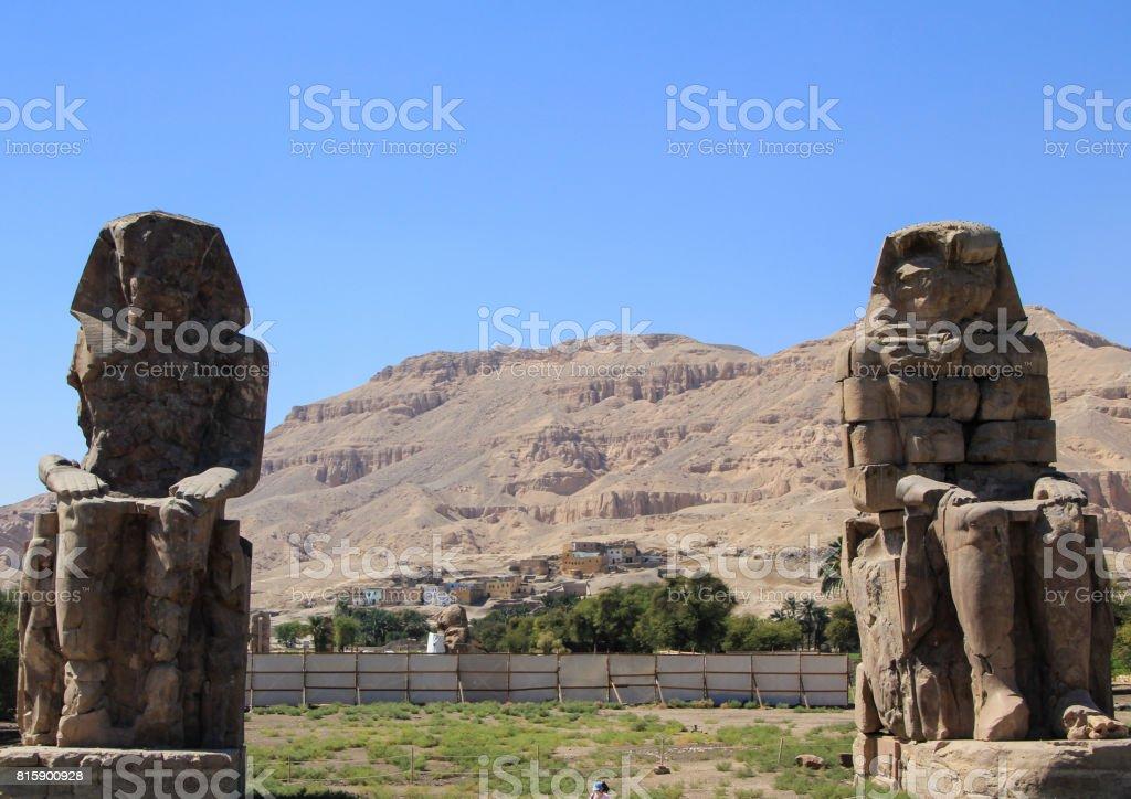 The Colossi of Memnon. stock photo