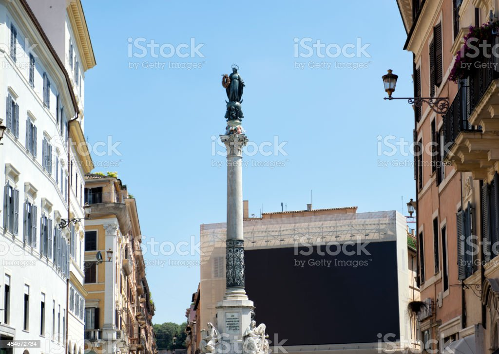 The Column of the Immaculate Conception in Rome stock photo