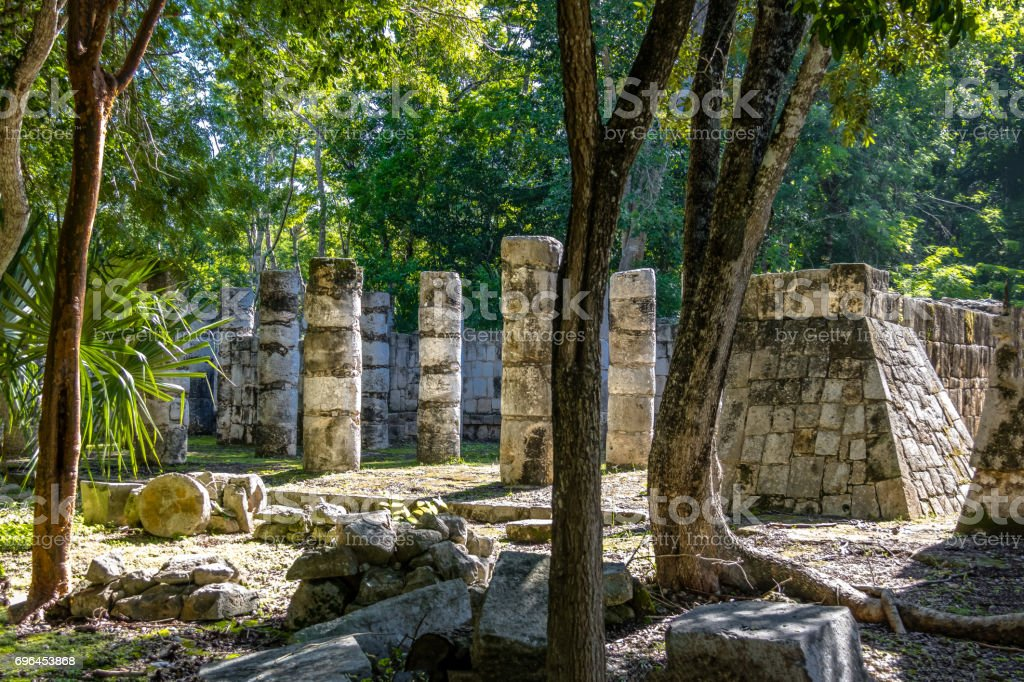 The columns in the Thousand Warriors Temple complex at Chichen Itza Mayan Ruins - Yucatan, Mexico stock photo