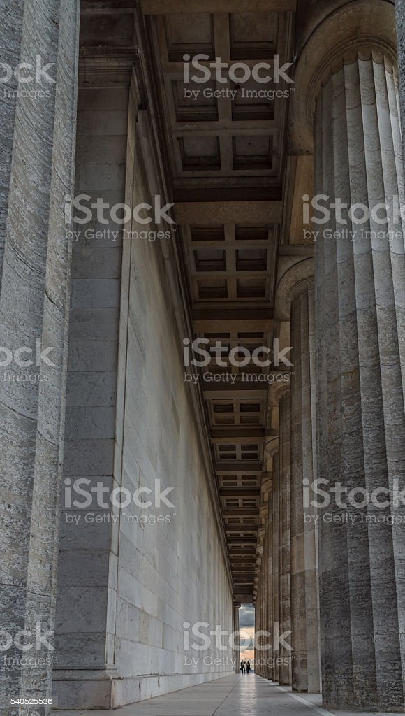 The columns of the Walhalla in Regensburg stock photo