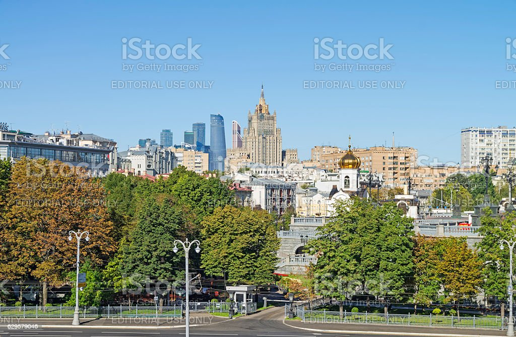 The combination of different architectural styles in the center stock photo