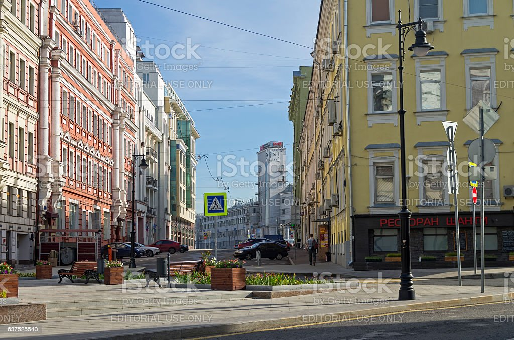 The combination of different styles of architecture in Moscow. stock photo