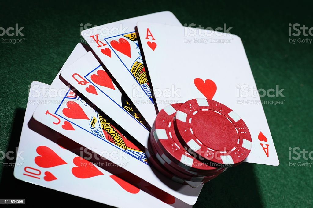 The combination of playing cards poker casino stock photo