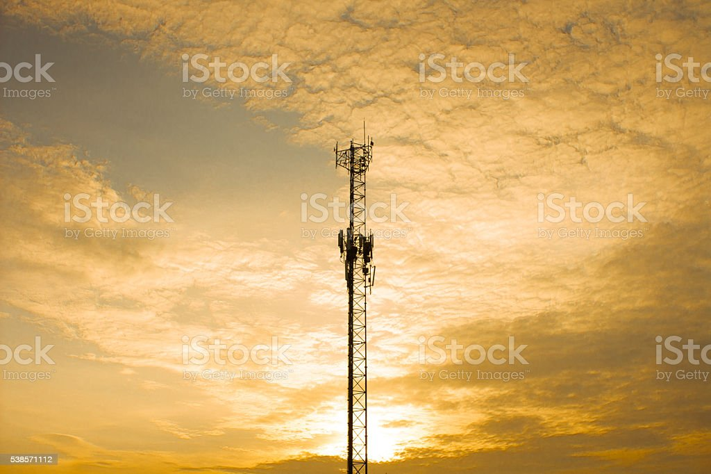 The Communication tower and sunlight in evening stock photo