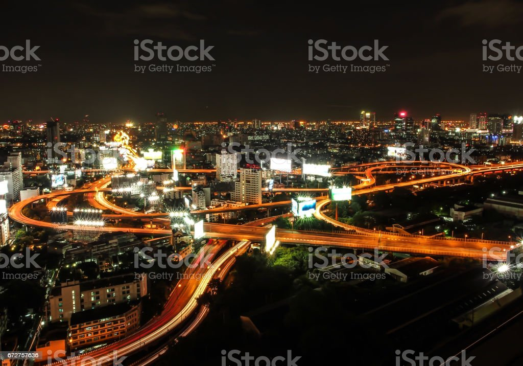 The complexity of the high way in Bangkok city, Thailand. stock photo