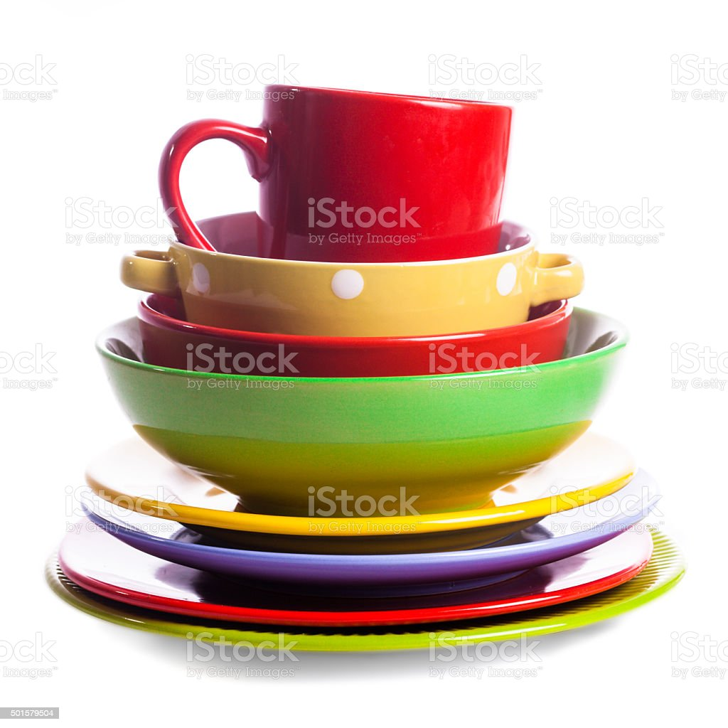 The composition of coloured utensils stock photo