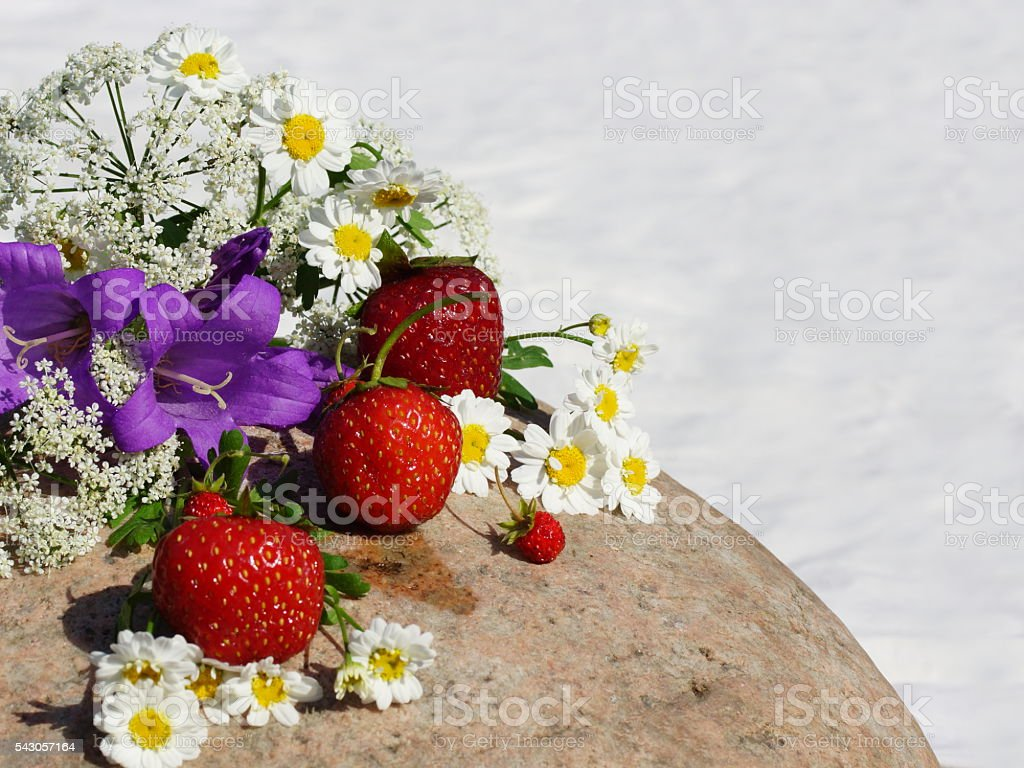 The composition of seasonal flowers and strawberries and strawberry. stock photo