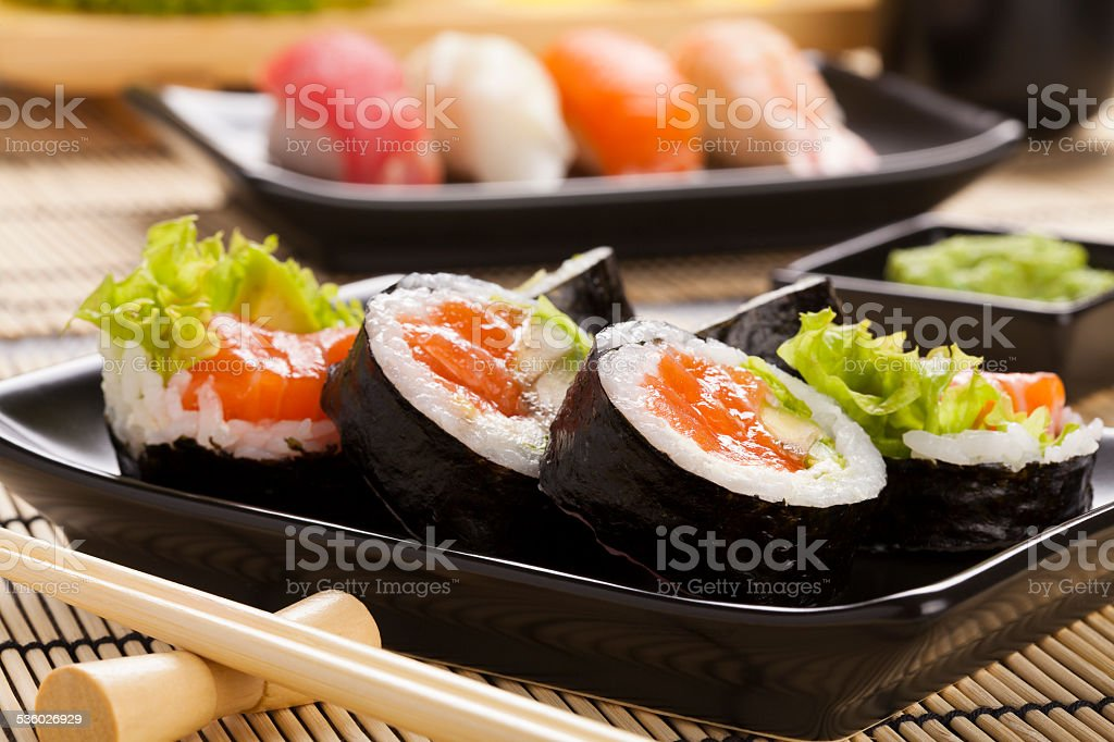 The composition of sushi stock photo