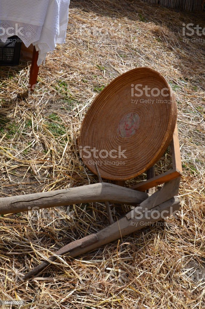 The composition of the ancient household utensils stock photo
