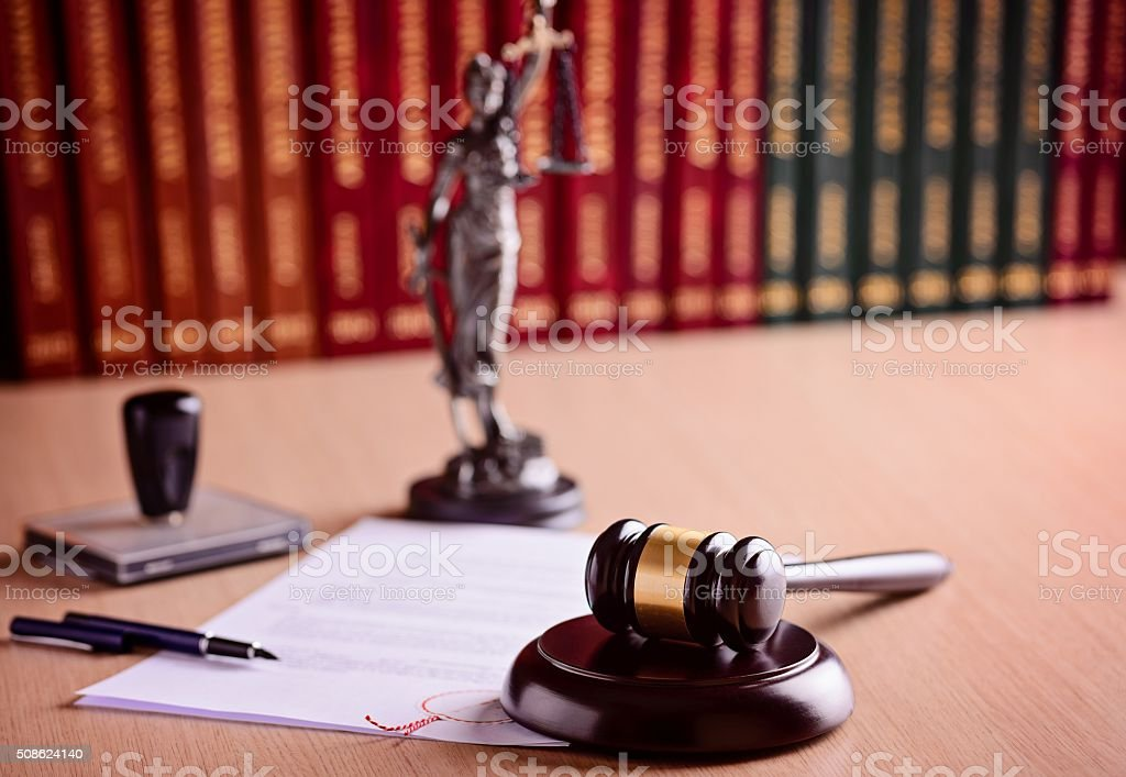 The composition of the gavel and judgement stock photo