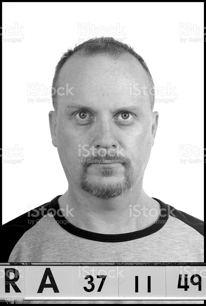 Mock up of the typical police style mug shot or booking photograph...