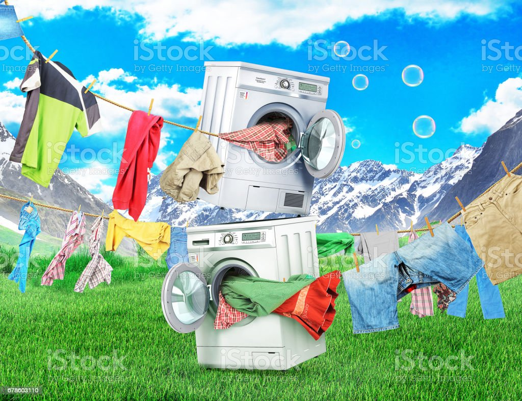 The concept of big washing. Clothing on the ropes rushes from the washing machine and dryer on nature background vector art illustration