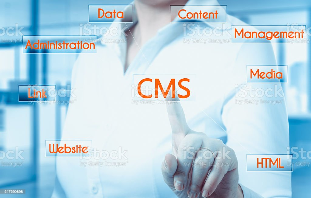 The concept of cms - content management system website administration stock photo