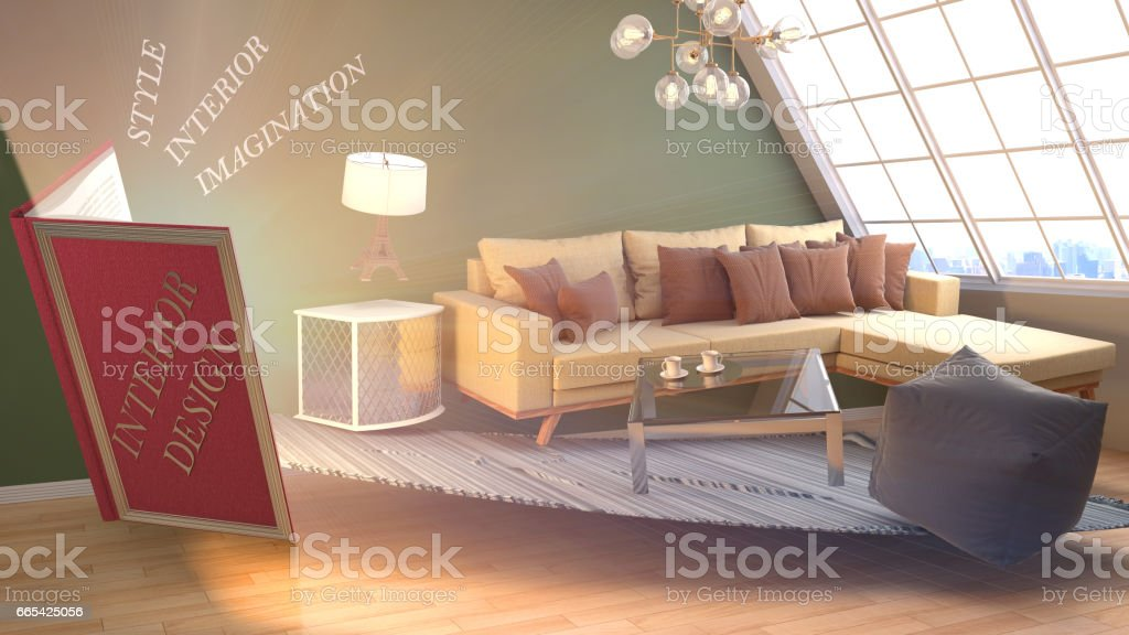 The concept of creating interior design. 3d illustration stock photo