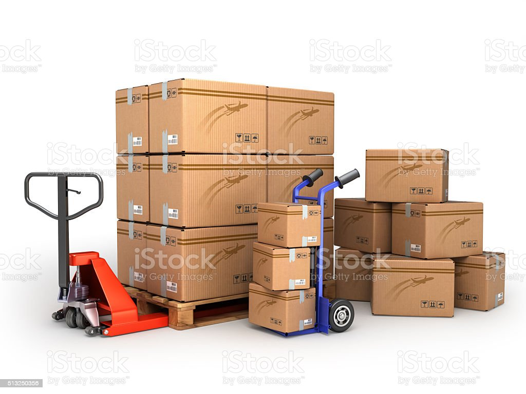 the concept of delivery,  hand truck loaded pallet stock photo