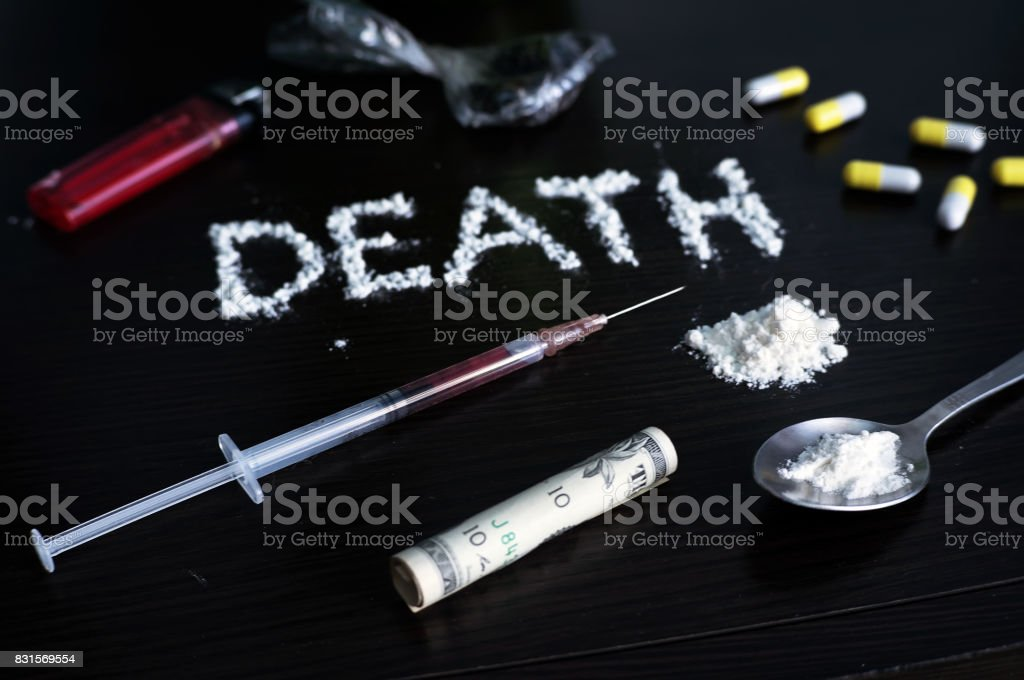 The concept of drug addiction. stock photo