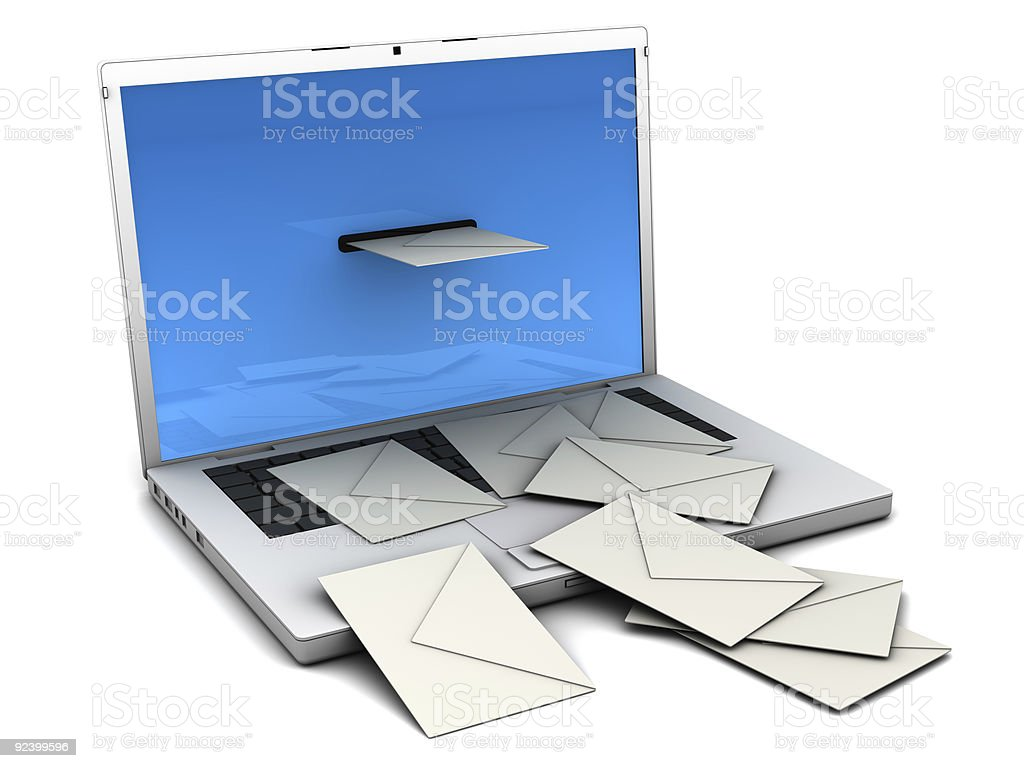 The concept of getting mail from the computer stock photo