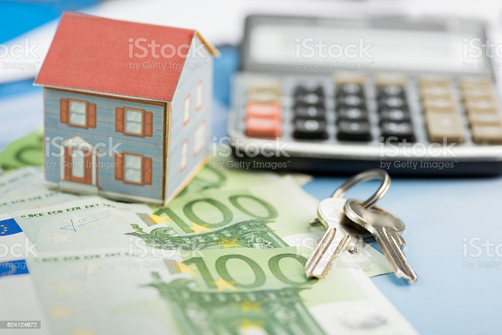 The concept of home ownership and Euro stock photo