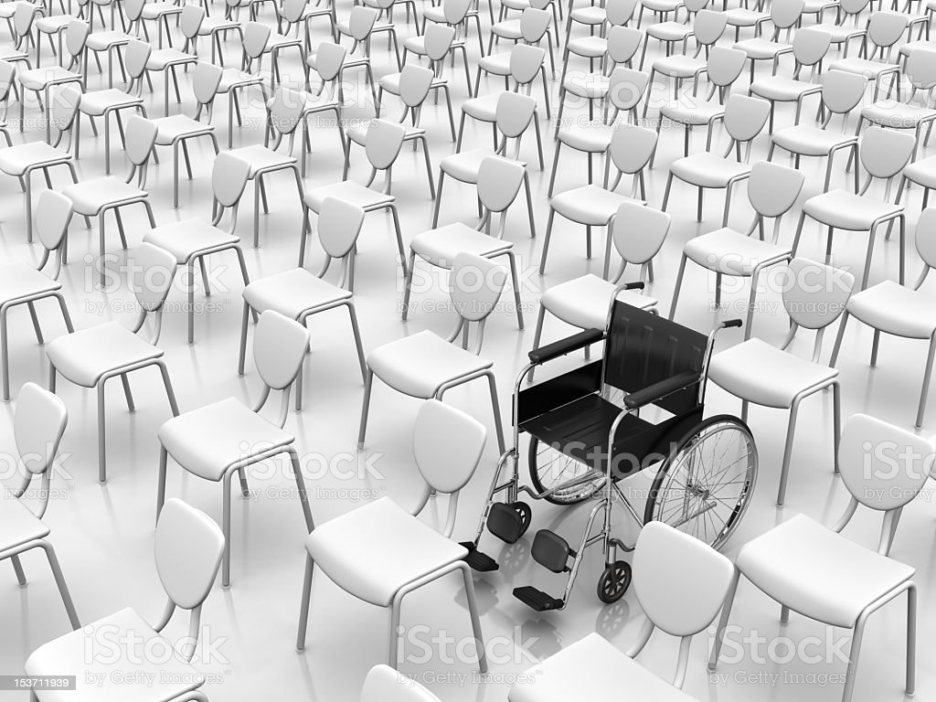 The concept of individuality using a wheelchair and chairs royalty-free stock photo
