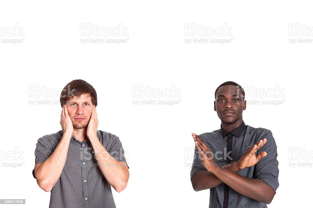 The concept of social and racial conflict. Equality. Problems. stock photo