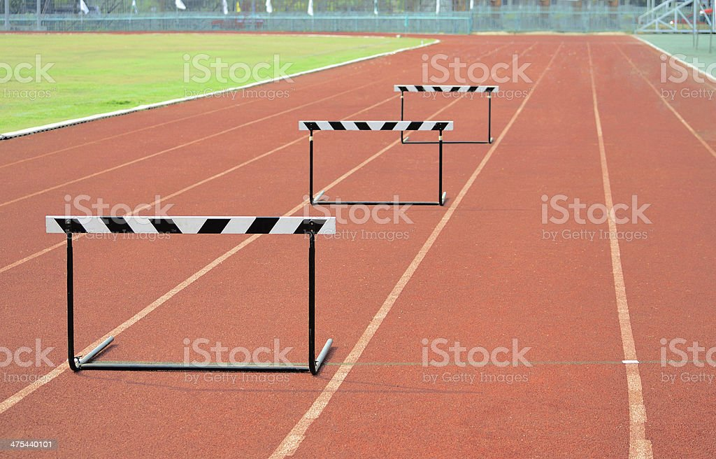 The concept of sport barriers on treadmill stadium. stock photo