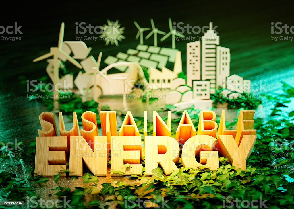 The concept of sustainable energy stock photo