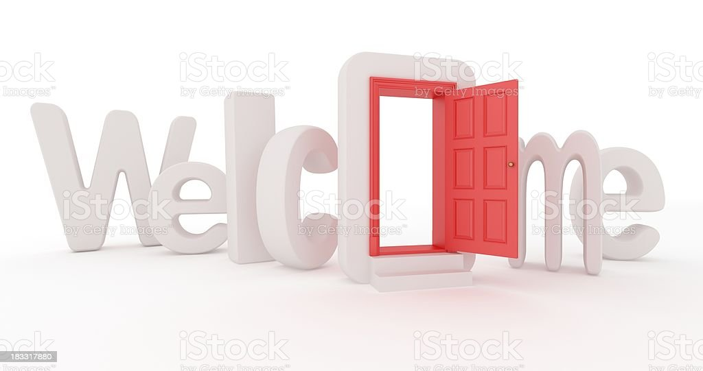 The concept of welcome with a door in the O royalty-free stock photo