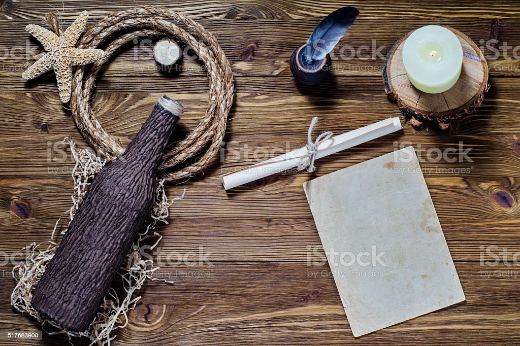 The concept of writing a letter on a ship, adventures. stock photo