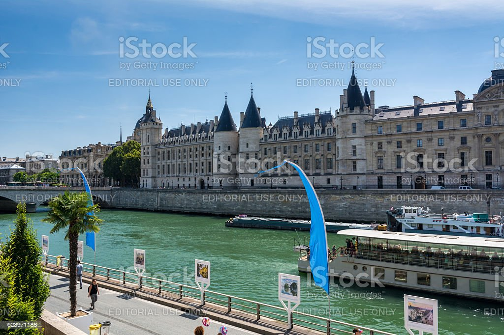 The conciergerie and the river Seine stock photo