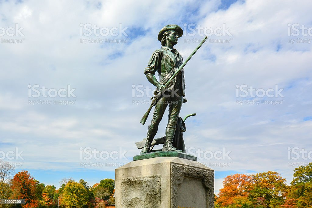 The Concord Minute Man by the Old North Bridge - Concord, MA stock photo
