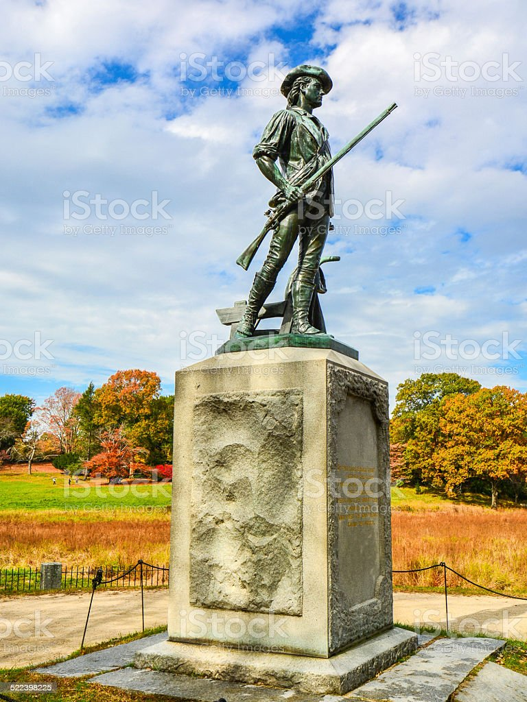 The Concord Minute Man by the Old North Bridge stock photo