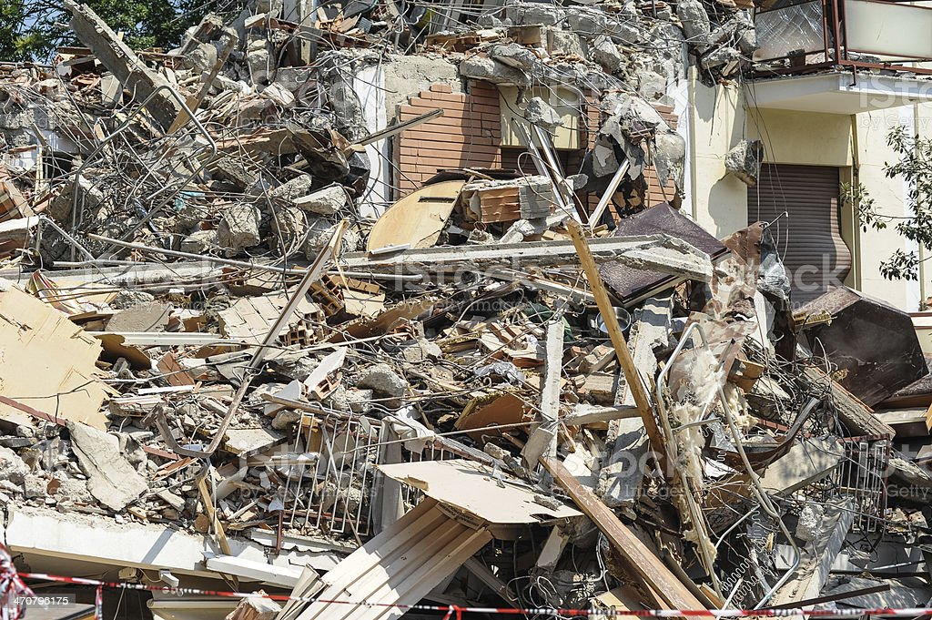 The concrete ruins from an earthquake in Italy stock photo