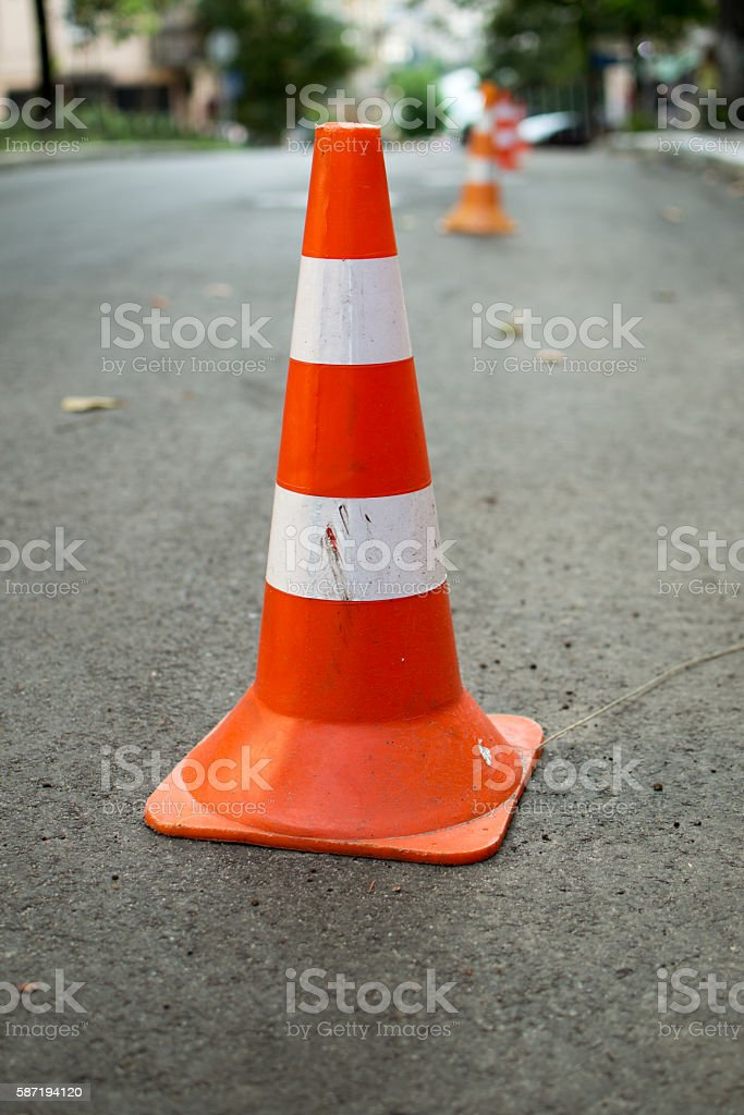 The cone on the road stock photo