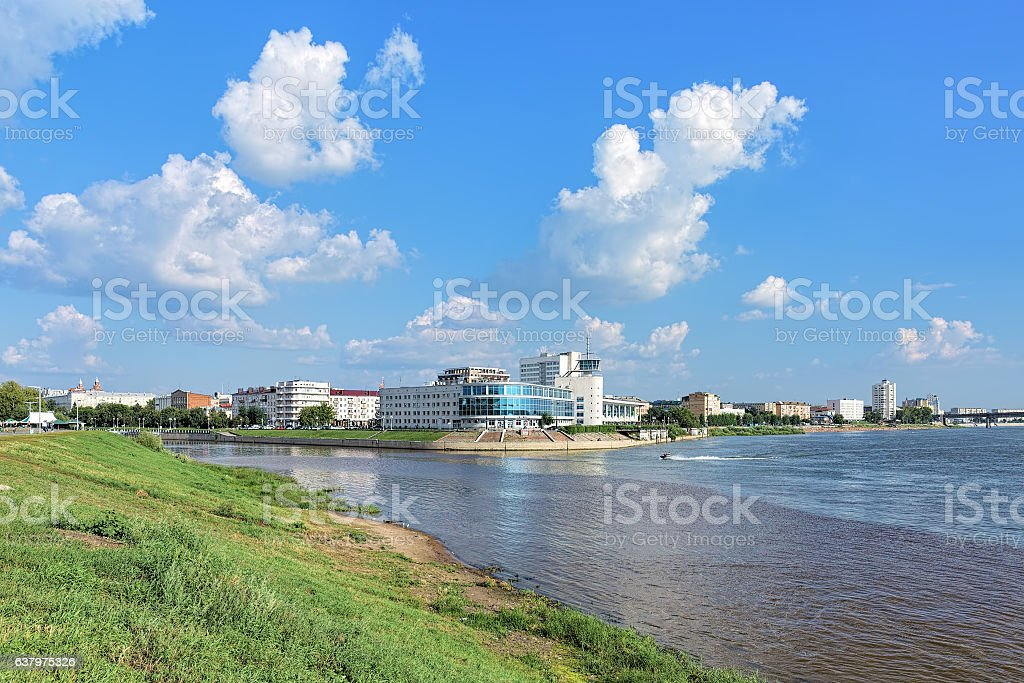 The confluence of Om and Irtysh rivers in Omsk, Russia stock photo