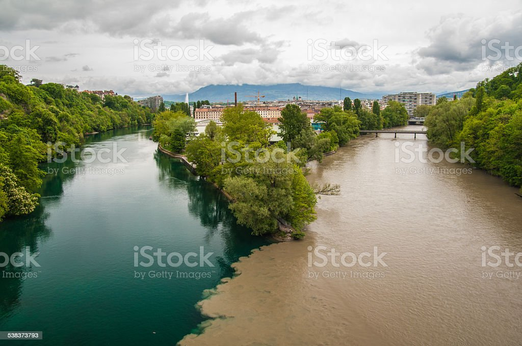 The confluence of Rhône and Arve rivers in Geneva stock photo