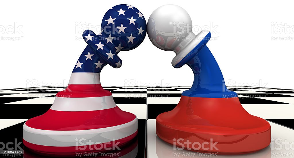 The confrontation between the Russia and the USA. The concept stock photo