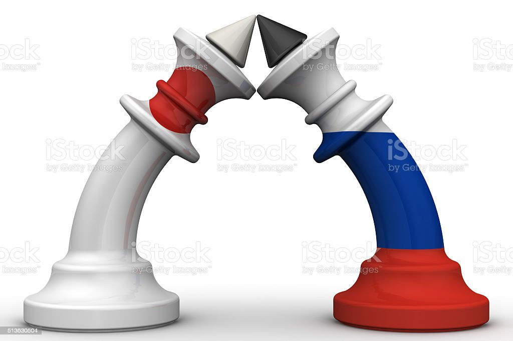 The confrontation between the Russian Federation and Japan. The concept stock photo