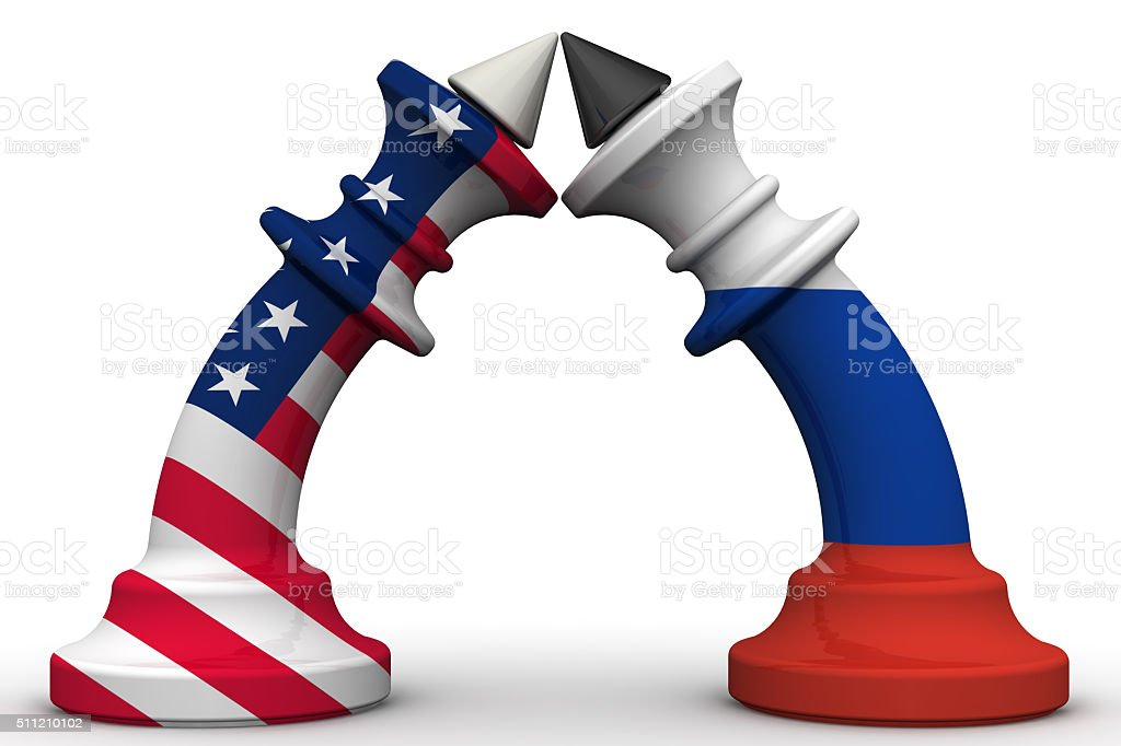 The confrontation between the Russian Federation and the United States of America stock photo