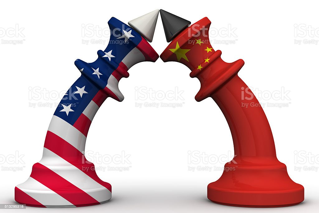 The confrontation of the People's Republic of China and the United States of America stock photo