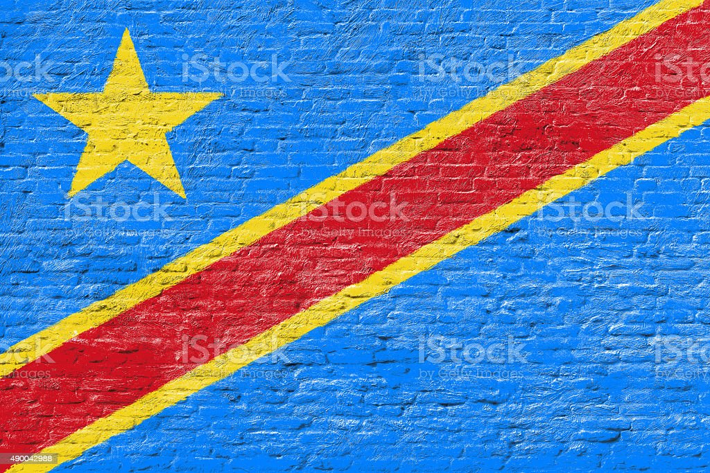 The Congo - National flag on Brick wall stock photo