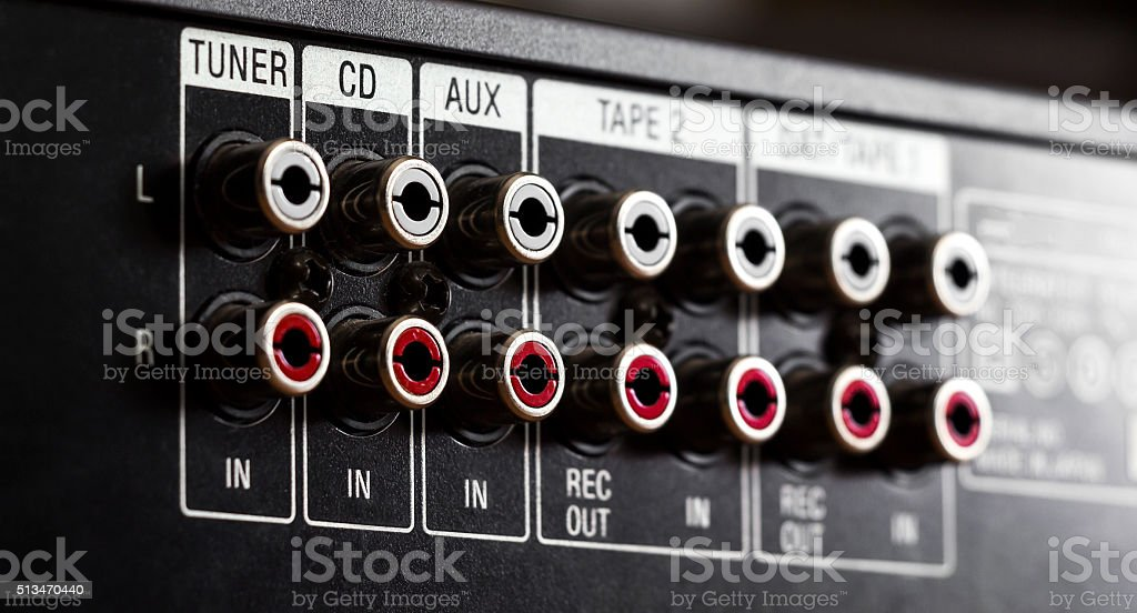 The connection jacks on the music center stock photo