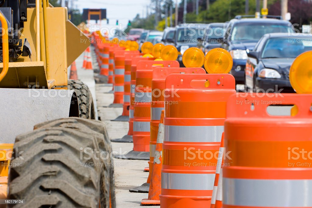 The construction led to a lot of traffic stock photo
