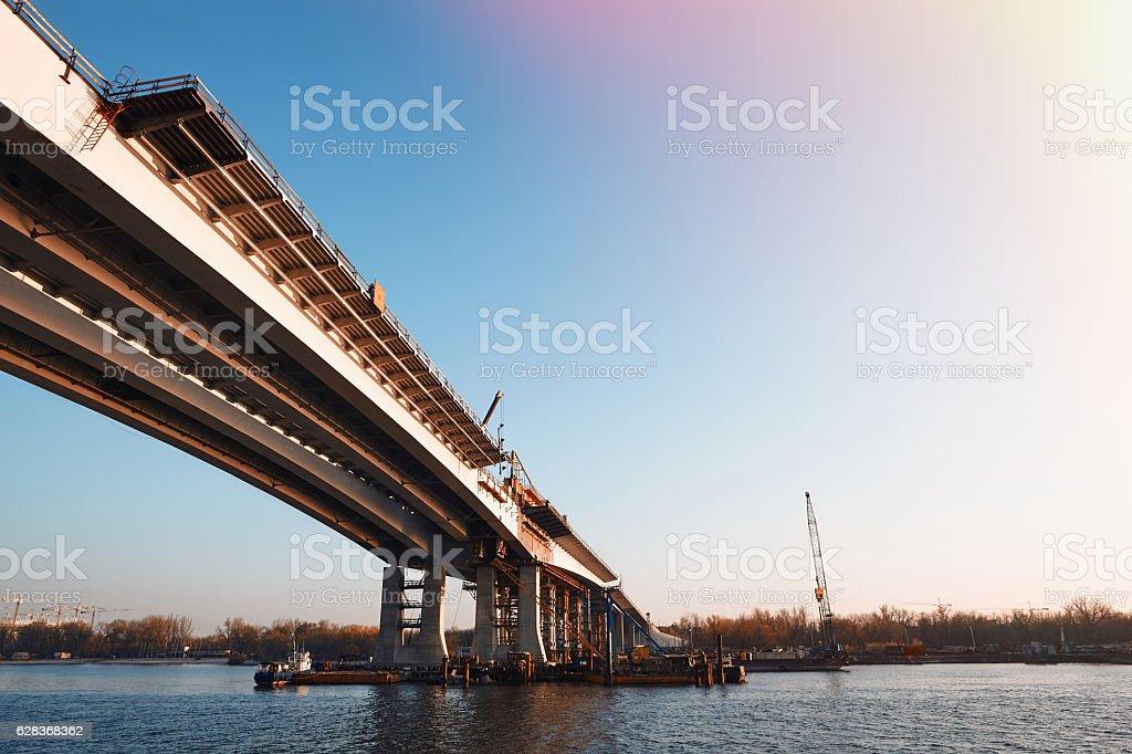The construction of a new bridge. stock photo
