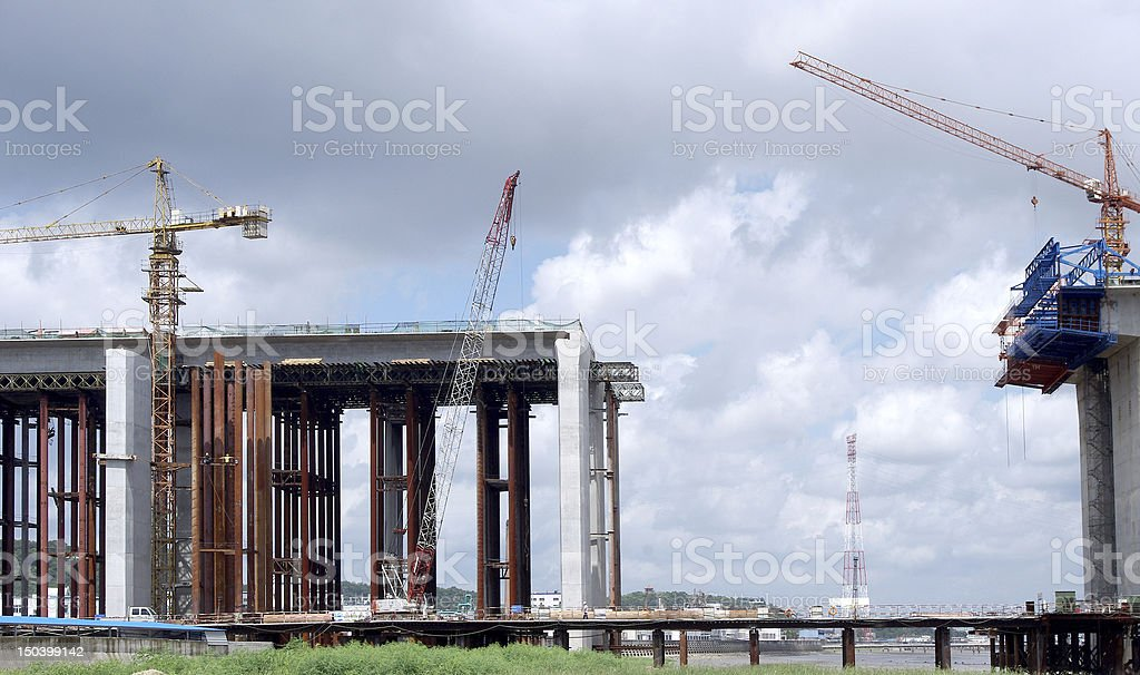 The construction of marine bridges royalty-free stock photo