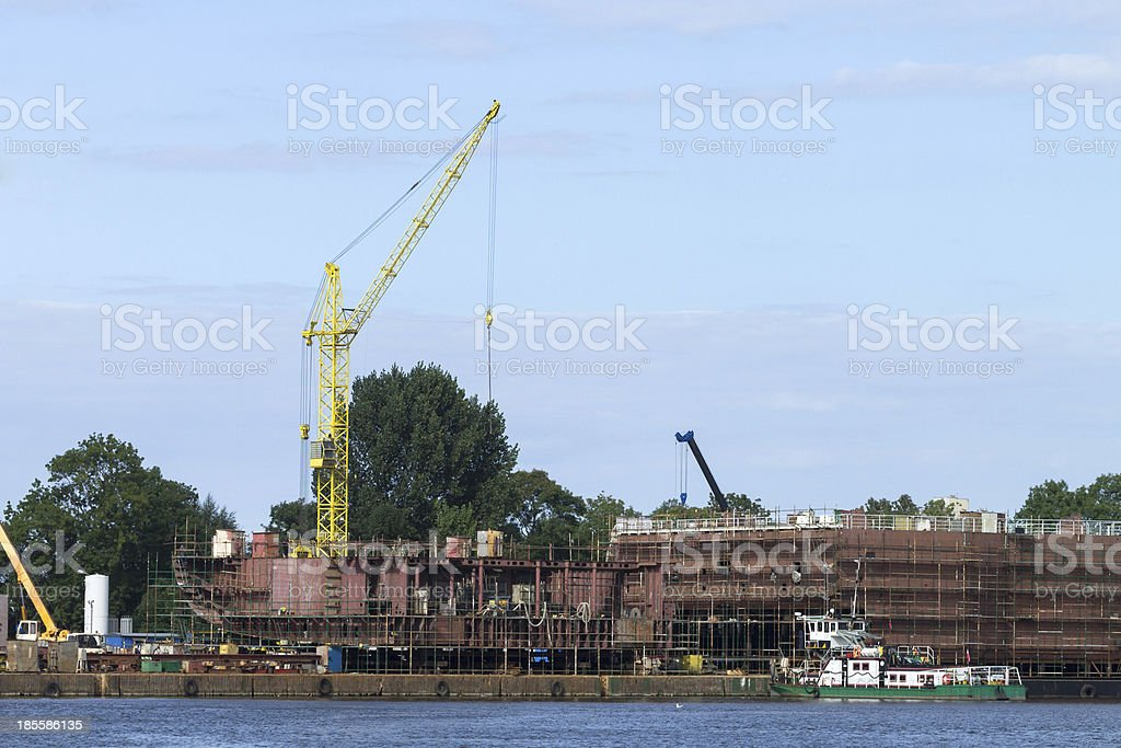 The construction of ship in shipyard Gdansk royalty-free stock photo
