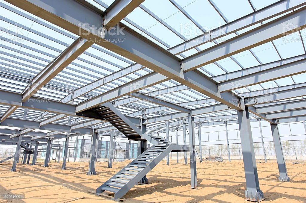 The construction of steel structure stock photo